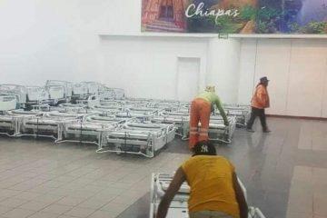Preparan camas en Polyforum para casos de COVID-19