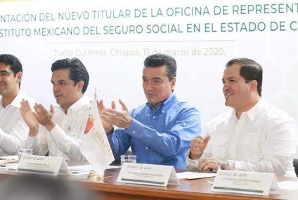 Acompaña Rutilio Escandón a Zoé Robledo en presentación del nuevo representante del IMSS en Chiapas