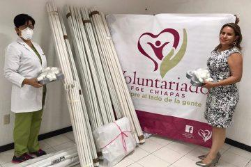 Entrega Voluntariado FGE donación a médicos para combatir el COVID-19 en Chiapas