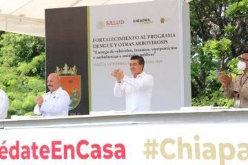 Fortalece Rutilio Escandón acciones contra el dengue con entrega de vehículos, insumos y equipamiento
