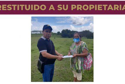 Restituye Fiscalía 17 hectáreas en Palenque