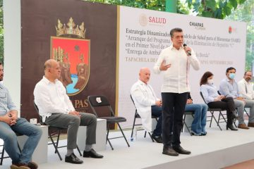 """En Chiapas, Rutilio Escandón y titular del Insabi arrancan programa nacional contra la hepatitis """"C"""""""
