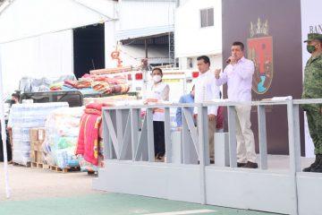 Rutilio Escandón da banderazo a ayuda humanitaria para familias afectadas por lluvias