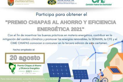Promover una cultura orientada al uso eficiente de la energía: objetivo del Premio Chiapas al Ahorro y eficiencia energética