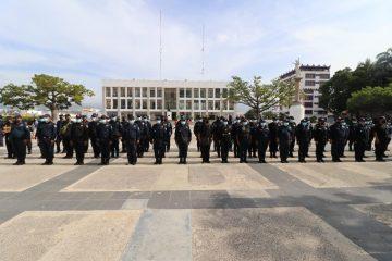 Policías estatales acompañan a las brigadas de vacunación contra la Covid-9 en Chiapas